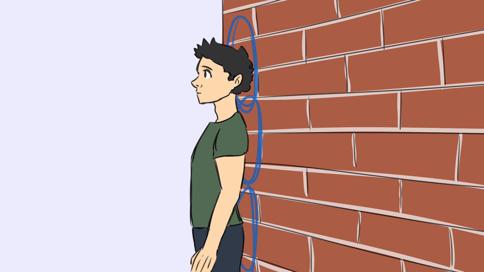 An Wand stehen - Selbstbewusstes Auftreten